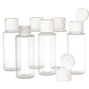2oz Clear Plastic Empty Squeeze Bottles with Flip Cap - BPA-free - Set of 6 - TSA Travel Size 2 Ounce - By Chica and Jo
