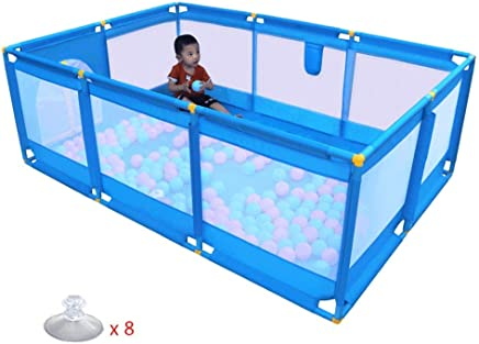 YEHL Playpen Portable Baby Play Yard 10-Panel Game Playground Toddler Indoor Safety Activity Center  190x128x66cm  Blue