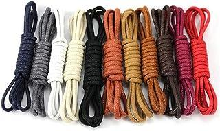 1 paire de lacets de chaussures unisexes imperméables en cuir ciré pour chaussures - 1 paire de lacets ronds - Couleur alé...