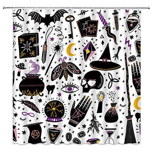 Gruseliger Halloween Duschvorhang Horror Schwarz Alchemy Magic World Hexe Hexe Mond Stern Gothic Cartoon für Kinder Stoff Badezimmer Deko-Sets mit 12 Haken, 180 x 180 cm
