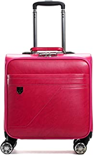 SRY-Luggage PU Suitcase Mute Small Suitcase, Fashion Trolley Case Female Business Boarding, Male Suitcase Universal Wheel 16 Inch Durable Carry on Luggage (Color : Red)