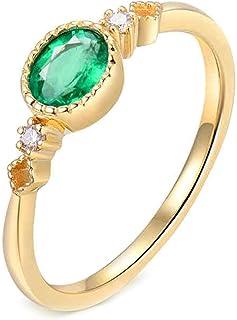 Daesar Anello Oro Giallo Donna 18K,Anelli di Fidanzamento Anello Smeraldo Donna 0.5ct Ovale Anelli Oro Giallo
