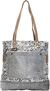 The Gypsy Upcycled Canvas and Genuine Hair-On Cowhide Leather Tote Bag