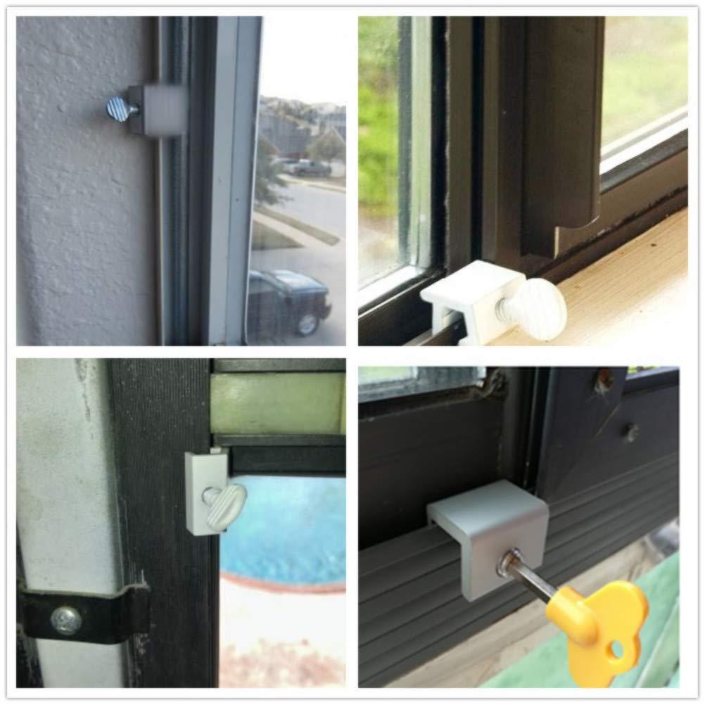 LaVenty Juego de 7 cerraduras de seguridad ajustables para ventanas y ventanas, con llaves, de aleación de aluminio, con cerradura de seguridad con llave para el hogar y la oficina: Amazon.es: Bricolaje