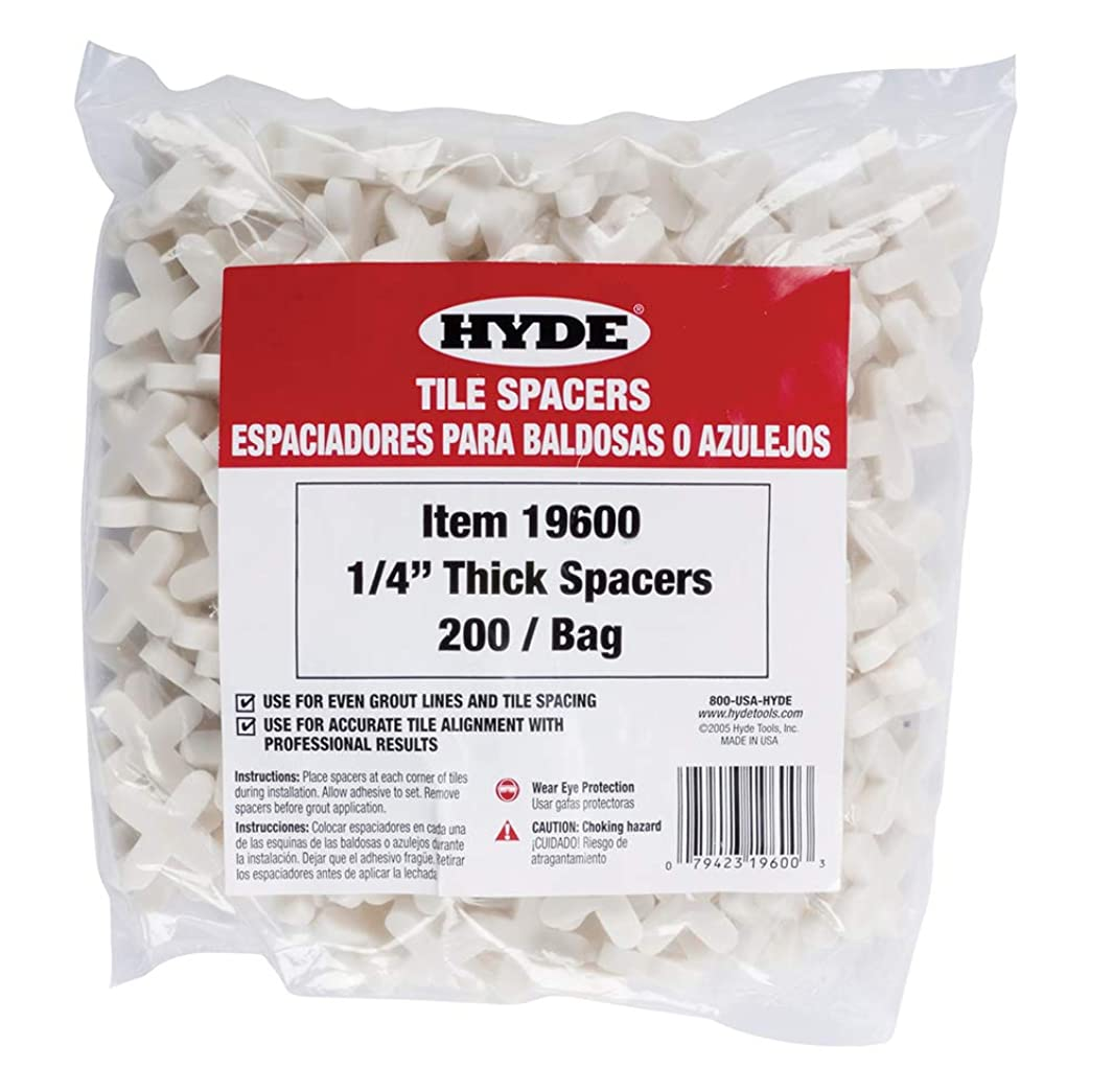 Hyde Tools 19600 1/4-Inch Thick Tile Spacers, 200 Per Bag