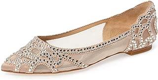Women Elegant Pointed Toe Rhinestone Flats Mesh Slip On Low Heel Wedding Bride Dress Shoes