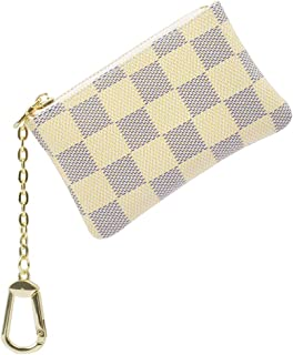Checkered Wallet Zipper for Women's/Men's Mini Wallet Coin Purses Clutch Leather Key Chain Pouch