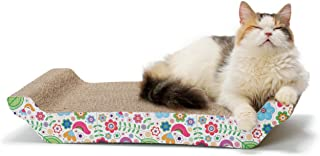 【猫壱】 バリバリベッド (Lサイズ・花柄)猫 つめとぎ ダンボール ベッドタイプ カーブ 選べる3サイズ 選べる柄2種類 Lサイズ 43cm 両面使える 長持ち 花柄 つめとぎ防止 運動不足解消 ストレス解消 自然由来糊使用 かわいい