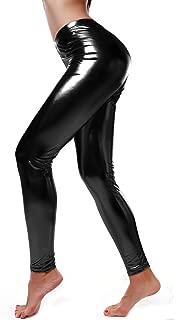 Women Faux Leather Leggings Wet Look Metallic Waist Legging Pants Trousers