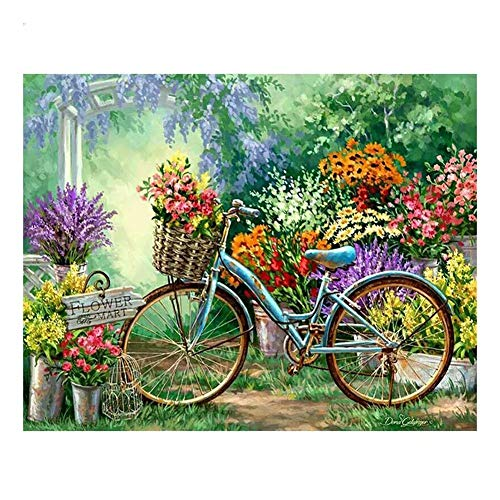 Kit de pintura diamante 5D completo, Flor de bicicleta  DIY 5D diamond painting por Número Kits,Crystal Rhinestone adulto niño Bordado Art por Decor de la Pared del Hogar Square drill,70x90cm
