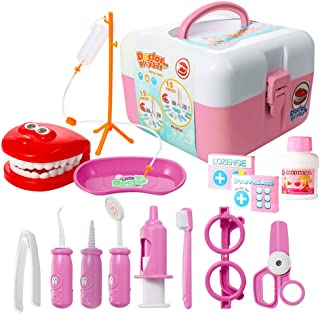 ThinkMax Dentist kit, 15 Pcs Pretend Dentist Play Set Toy for Kids and Toddlers