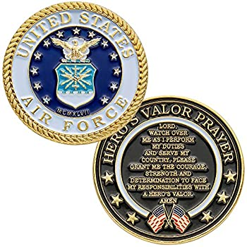 United States Air Force Challenge Coin with Hero s Valor Prayer 1-Pack  One Coin