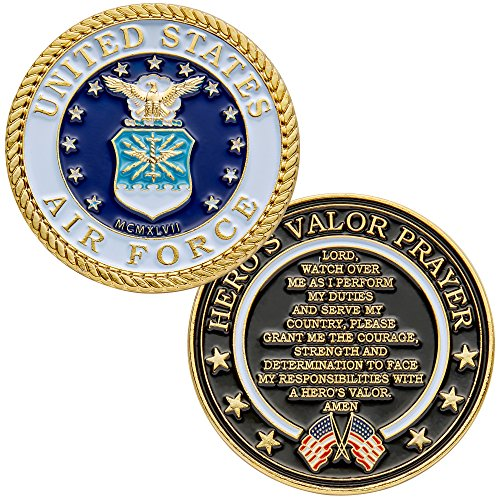 United States Air Force Challenge Coin with Hero's Valor Prayer 1-Pack (One Coin)