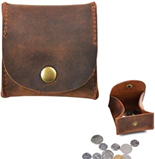 Juland Genuine Leather Squeeze Coin Purse Rustic Leather Moon Pocket Coin Case Pouch Change Holder Tray Purse Wallet for Men & Women - Brown