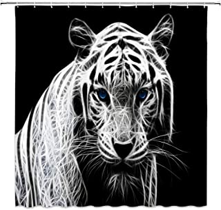 jingjiji Tiger Shower Curtain African Forest Animals Abstract Graffiti Black White Modern Creative Skeleton Art Hippie Bathroom Decoration Curtains Polyester Fabric Waterproof with Hook 70 X 70 Inch