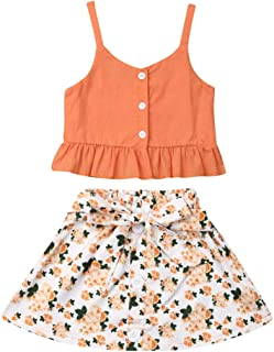 Toddler Baby Girls Ruffle Strap Top+ Boho Floral Skirt Summer Outfit Clothes 2 Pcs Set
