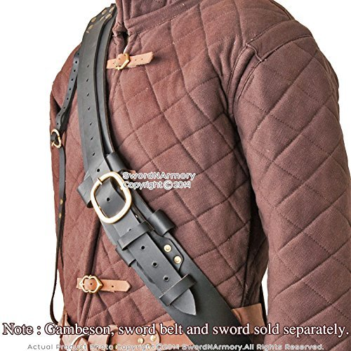 Etrading Black Genuine Leather Baldric for Medieval Long Sword Claymore Belt Frog Hanger
