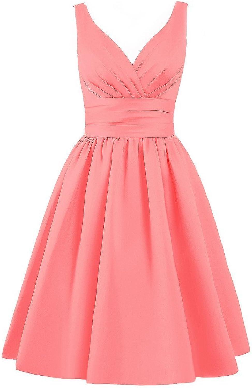 Dreagel Women's Short Aline Prom Dresses Knee Length Satin Sleeveless Homecoming Dress
