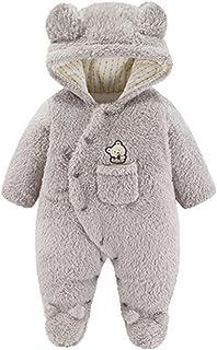 طفل الفتيات الفتيان الشتاء القطن مبطن سترة خارج حديثي الولادة هكتال بذلة تسلق رومبير الملابس معطف (Color : Gray, Size : 9M)