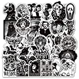 50 Pcs Horror Punk Gothic Stickers for Water Bottle Laptop Skateboard Luggage Guitar Car Motorcycle Bike Vinyl Waterproof Black White Gothic Sticker Pack Suitable for Teens Adults