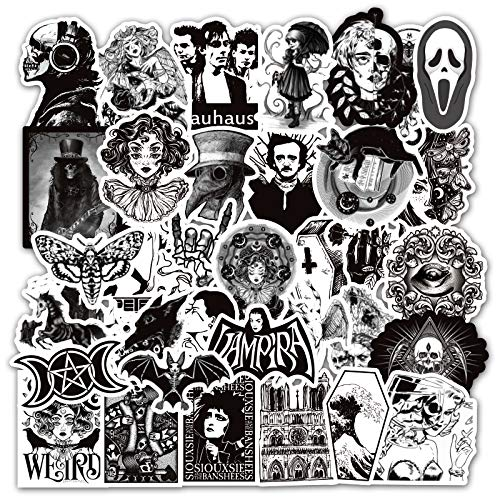 50 Pcs Vinyl Punk Gothic Stickers Horror Gothic Decals Waterproof Trippy Sticker Pack for Water Bottle Hydro Flask Laptop Skateboard Luggage Bike Car