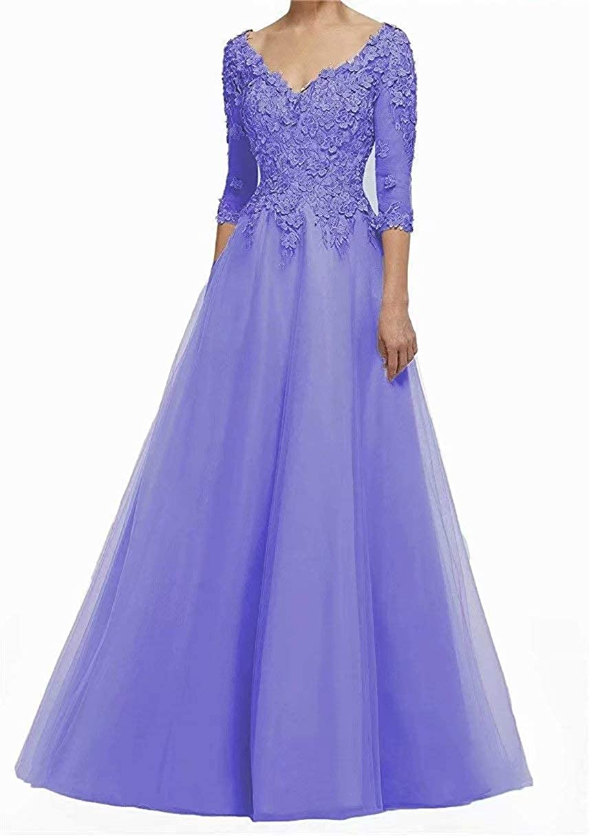 Lace Applique Mother of The Bride Dresses 3/4 Sleeves Plus Size Tulle Long Formal Evening Gowns for Women
