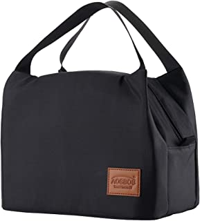 Aosbos Lunch Bags for Women Insulated Lunchbox Tote Bag Food Cooler Box Adult Men (Black)