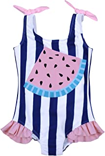 Maketina Baby Girl One Piece Swimsuit Sleeveless Ruffles Toddler Bathing Suits Cute Swimwear