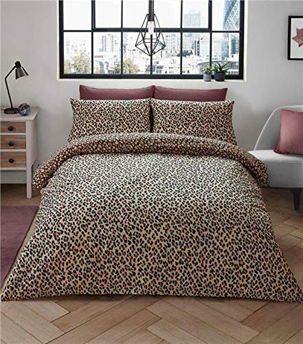 Homemaker leopard print duvet sets animal print bedding quilt cover in natural tan shades (King)