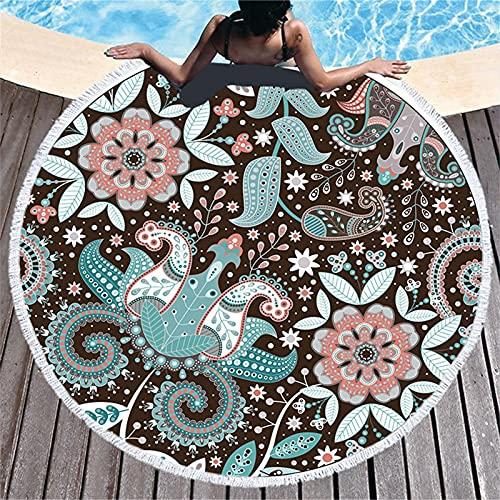 BDBY Tapicería de Playa Redonda, absorción de Agua Suave Que se Seca rápidamente la Estera de Picnic, el Mantel de Pared Abstracto, la Estera de Yoga para Las niñas