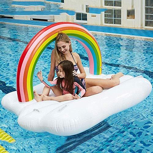 JWCN Aufblasbarer schwimmender Loungesessel für Erwachsene Rainbow Floating Row Pool Rafts Aufblasbare Aufsitzpartys Schwimmendes Schwimmring für schwimmende Betten auf dem Wasserspielzeug Uptodate