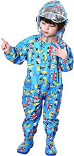 FeelMeStyle Kids Rain Coat Unisex One Piece Rain Suit Puddle Suit for 1-7Y