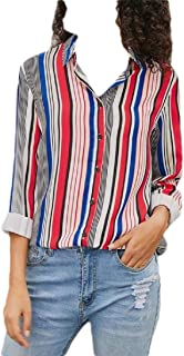 S-Fly Women's Lapel Stripe Casual Shirt Loose Button Up Roll sleeve Shirts Blouse Tops