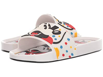 Mini Melissa Mel Beach Slide + Mickey and Friends II (Little Kid/Big Kid) (White) Girl