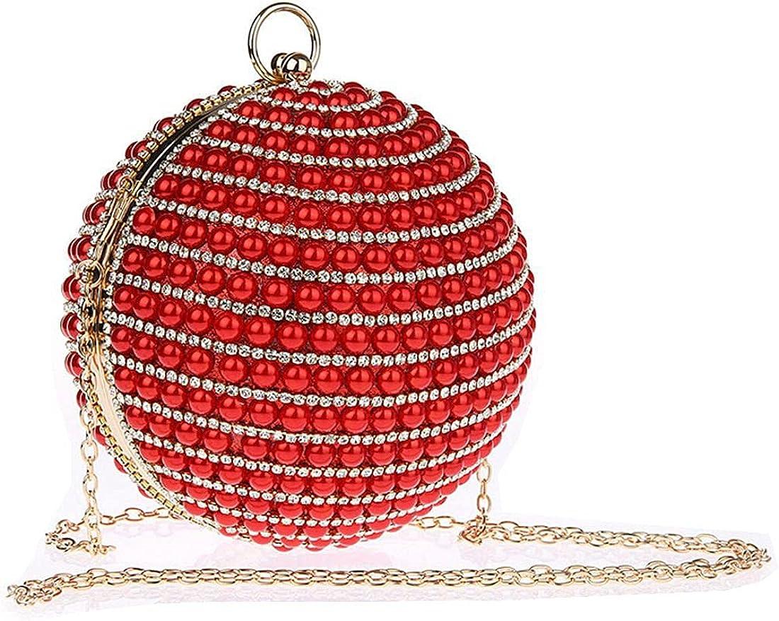 UMREN Women Crystal Round Ball Evening Bag Artificial Pearl Beaded Clutch Handbag Ring Handle Purse for Wedding Party