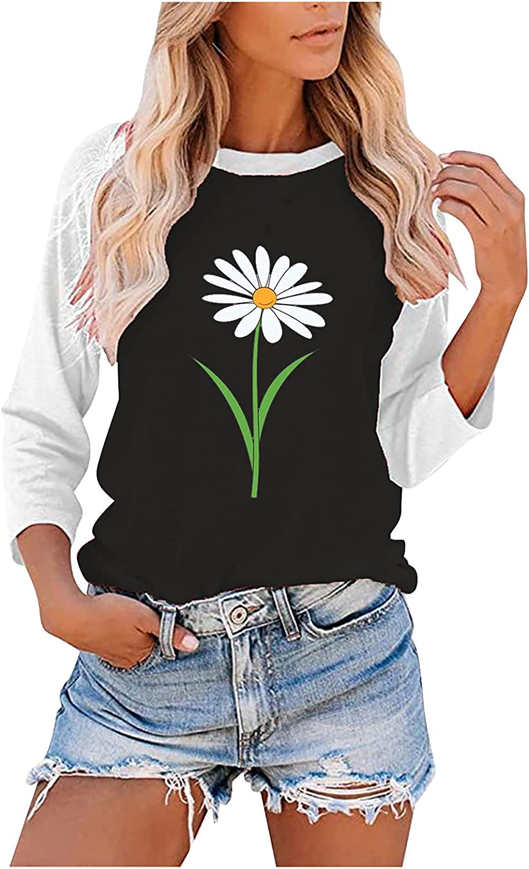 INESVER Womens Color Block Long Sleeve Sweatshirt Hoodie Sunflower Printed Blouse Tee Shirt Autumn Sweaters Pullovers