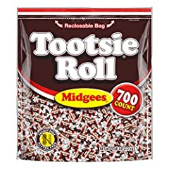 Tootsie Rolls are an American icon - the delicious combination of chocolatey and chewy candy that everyone knows and loves! Midgeetootsie rolls are only 11 calories per piece, and are kosher, Gluten Free, and peanut free. 700 Tootsie Roll Midges are ...