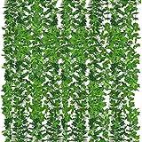 Yidaxing Lierre Plante Artificielle Exterieur Faux Lierre Feuillage Artificiel Feuille Guirlande Décoration Interieur pour Célébration, Mariage, Cuisine, Jardin, Bureau