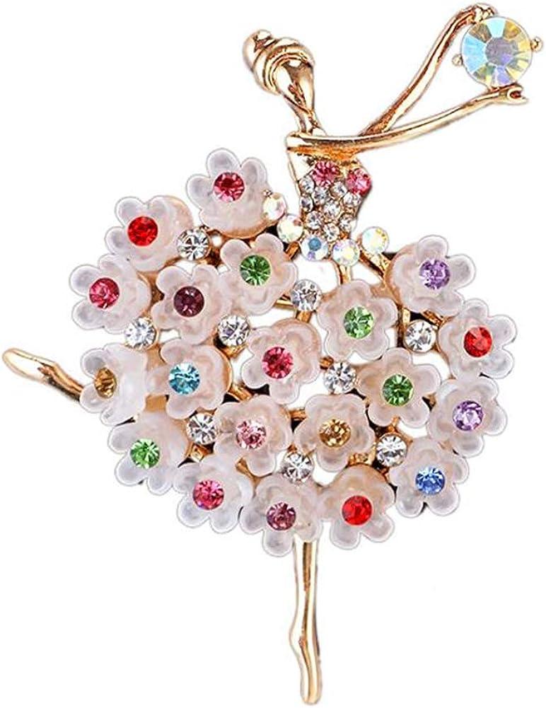 Daisy Jewelry Womens Ballet Dancer Ballerina Brooch Elegant Rhinestone Crystal Brooch Pin Girl Jewelry