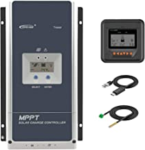 EPEVER 100 Amp MPPT Solar Charge Controller 200V PV Input Negative Ground Work with 12/24/36/48V Battery System Tracer 10420AN Series W/ MT50 Remote Meter