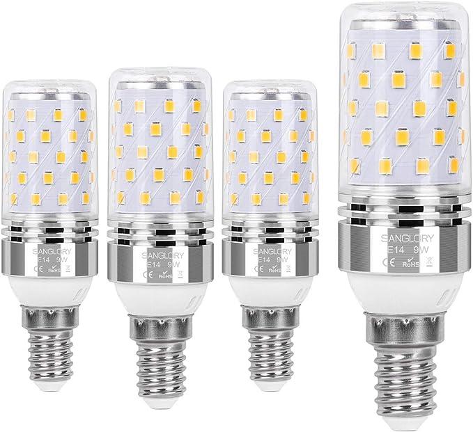 SanGlory E14 Bombilla LED 9W, 80W Incandescente Bombillas Equivalentes, Luz calida 3000K, 950Lm, Pequeño Edison tornillo bombillas LED E14, AC220-240V, No regulable - 4 unidades