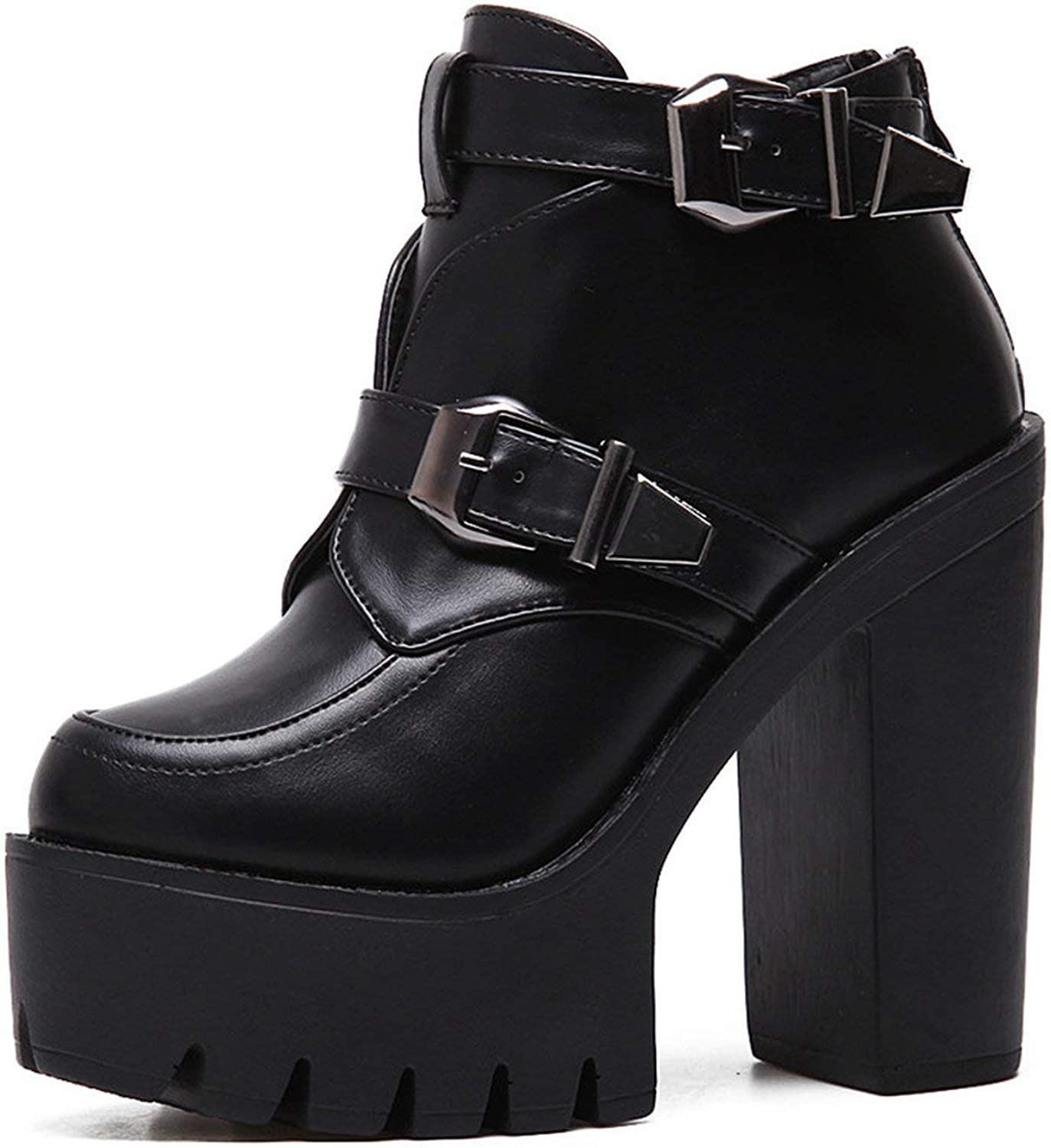 Spring Autumn Women Boots Round Toe Platform Ankle Boots Buckle Black Leather shoes