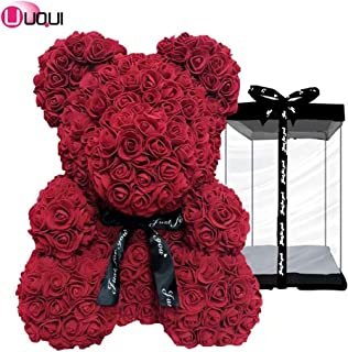 U UQUI Rose Flower Bear - 10 Inches Tall - Over 200+ Flowers on Every Rose Bear - Perfect for Anniversary's, Birthdays, Bridal Showers, Mothers, Etc. - Clear Gift Box Included!