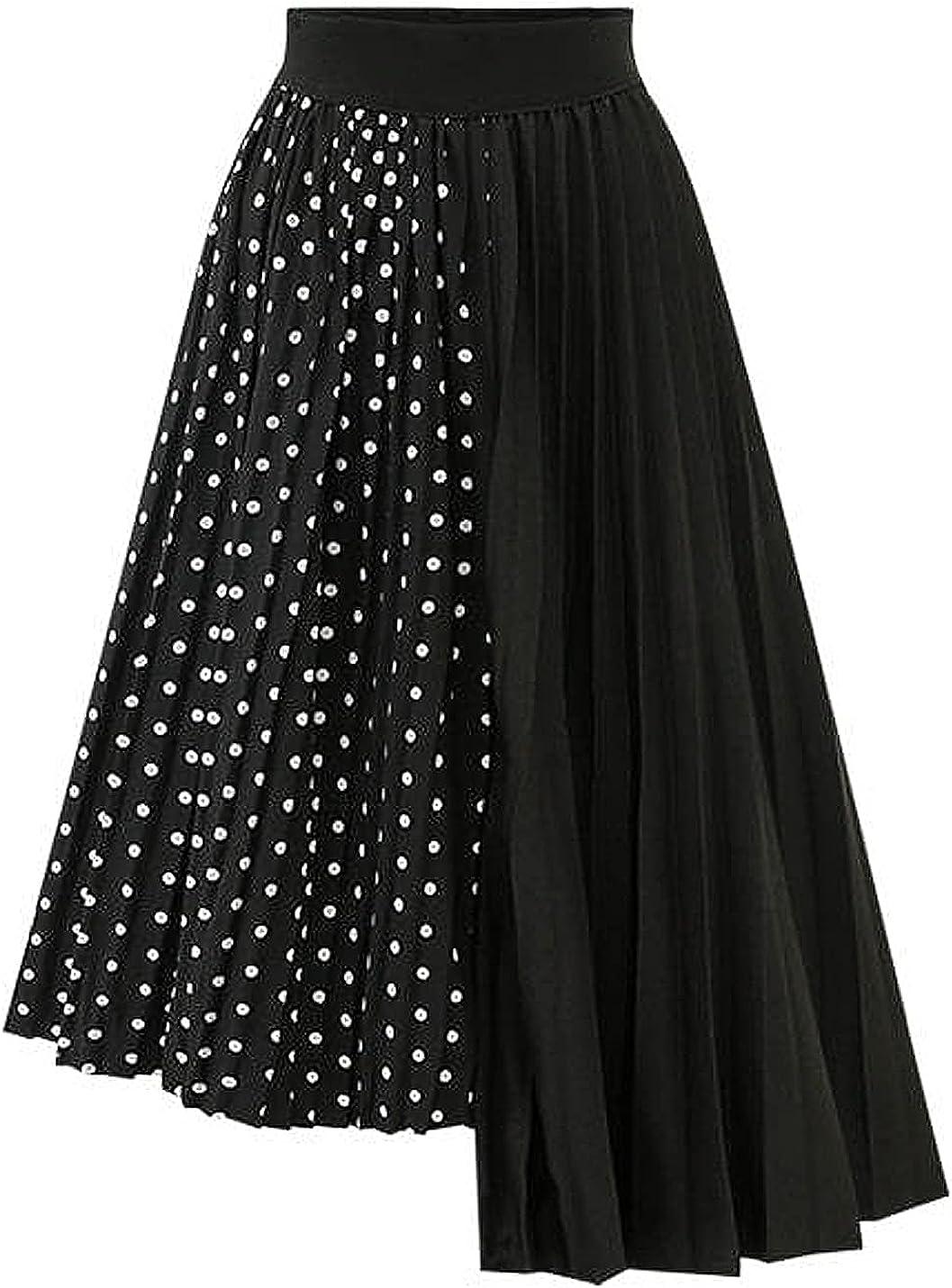 COWOKA Women's Polka Dot Stitching Irregular Chiffon Pleated Skirt Short Midi Casual Dress