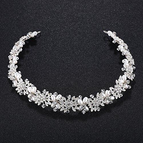 Oriamour Bridal Headpiece Flower Design Wedding Headband Bridal Hair Accessories (Silver)