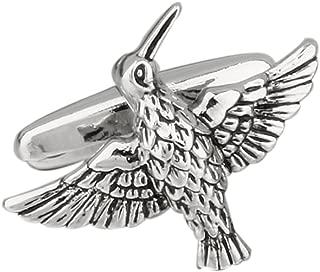 Hummingbird Bird Flying Pair Cufflinks in a Presentation Gift Box & Polishing Cloth