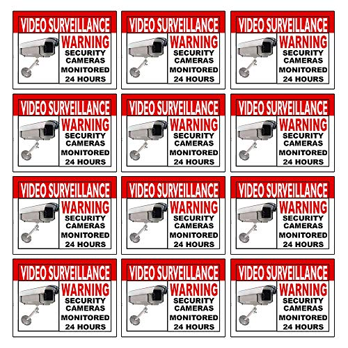 Best Home and Business Security Camera and Video SurveillanceSticker for Indoor/Outdoor Use Long Lasting Weather Proof Window & Door Security 4 x 3 12-Pack Stickers with Free 1yr Warranty Made in USA