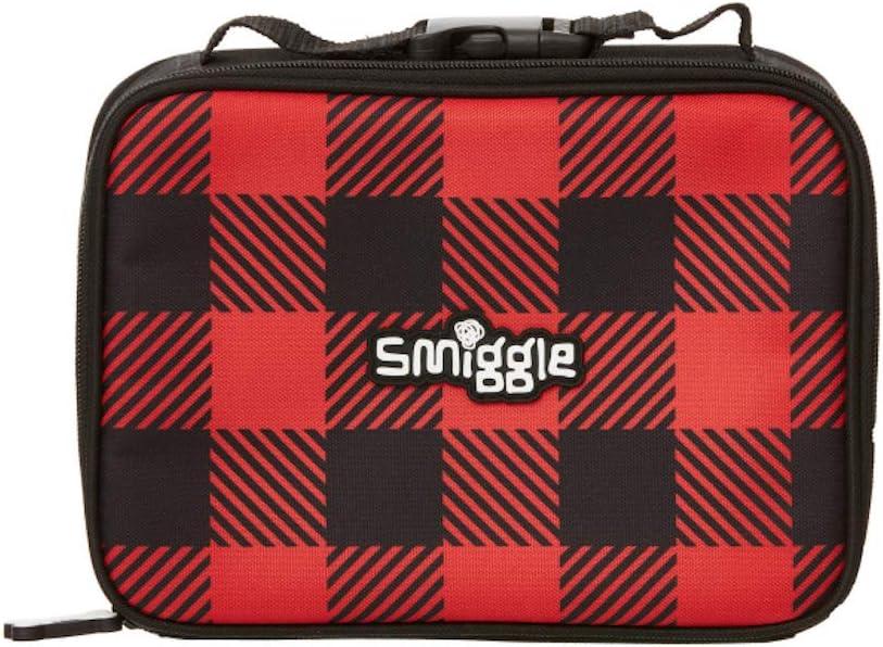 Smiggle Contenitore per il pranzo singolo a ponte Express quadrato rosso e nero a quadretto