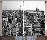 ABAKUHAUS Nueva York Cortinas, Nueva York Manhattan, Sala de Estar Dormitorio Cortinas Ventana Set de Dos Paños, 280 x 225 cm, Gris