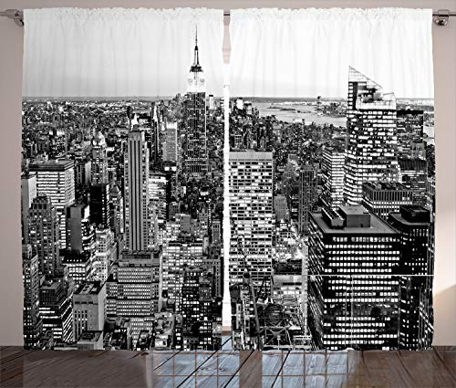 ABAKUHAUS New York Gordijnen, New York Manhattan, Woonkamer Slaapkamer Raamgordijnen 2-delige set, 280 x 225 cm, Grijs